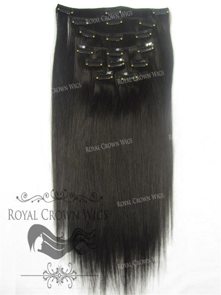 Brazilian 9 Piece Straight Human Hair Weft Clip-In Extensions in #1b