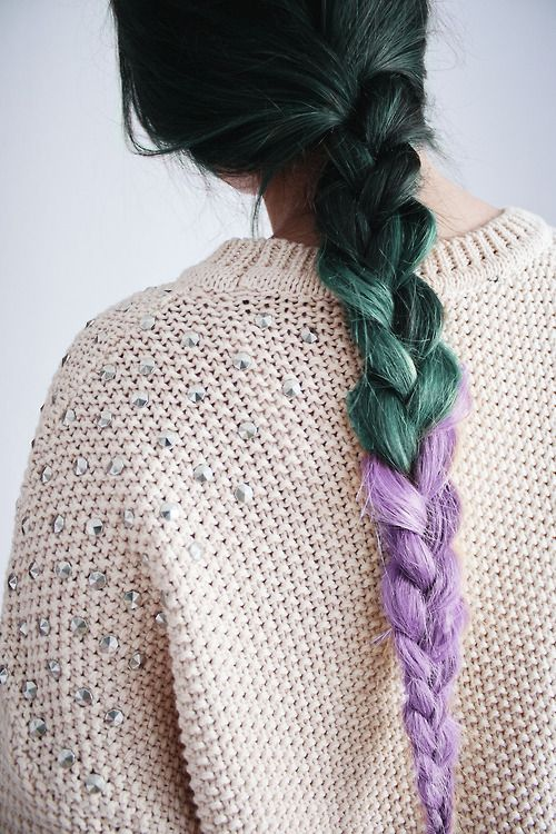 Green and violet braid