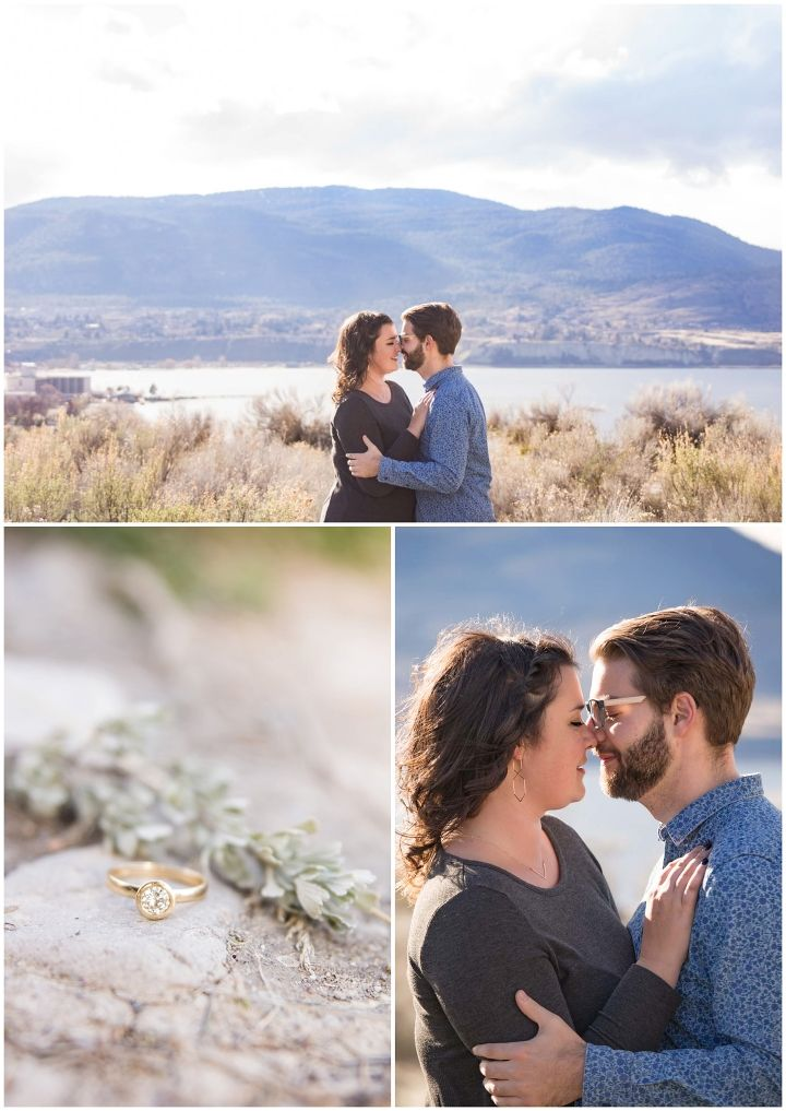 Intimate engagement session with lakeview and engagement ring shot
