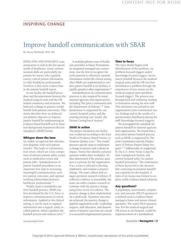 Improve Handoff Communication With Sbar Nursing2015