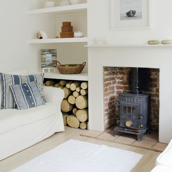 woodburner - love the tiles/white/brick ratio although it does need a bit more colour to soften and warm it up!                                                                                                                                                                                 More