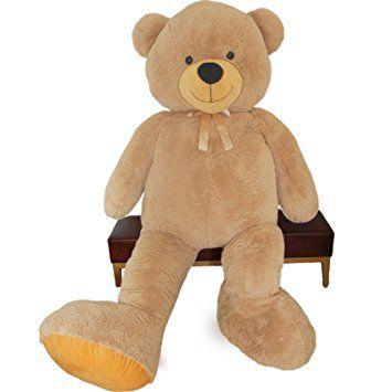 VERCART Nounours Peluche Ours Géant XL Teddy Bear Souriant Jouet Doudou Enfant Cadeau d'anniversaire Ami Amoureuse Brun 200CM
