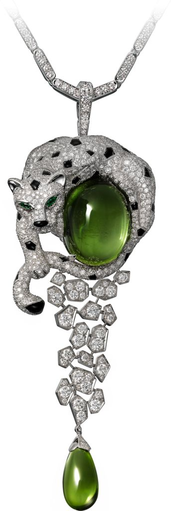 Necklace - white gold, one 32.53-carat oval-shaped cabochon-cut peridot, one 10.11-carat peridot drop, onyx, emerald eyes, brilliant-cut diamonds.