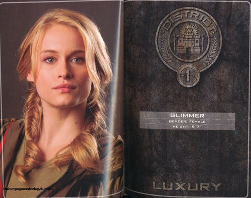 Glimmer- district 1- career tribute.... if i could be any character from the hunger games I would soo be her