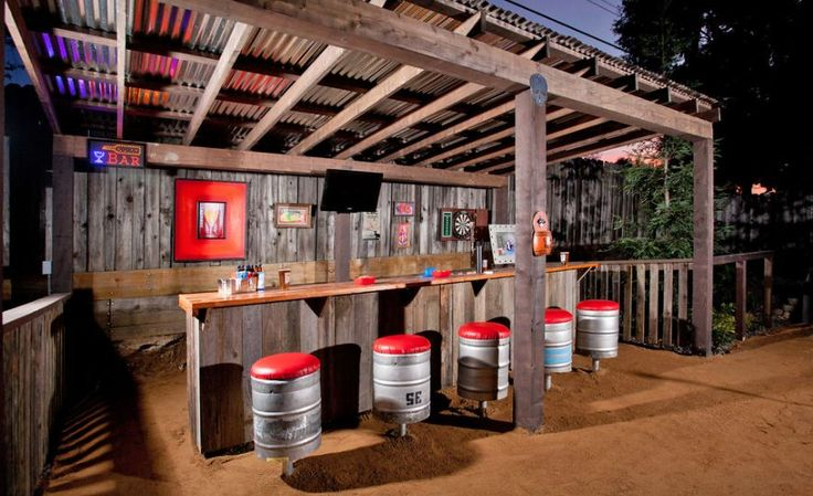 outdoor-patio-man-cave, use corrugated metal on walls/ceilings/backslpash