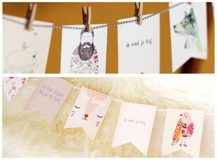 Gratis printable: DIY vlaggetjeslijn voor jongens en meisjes. Leuk kraamcadeautje of om met een geboortekaartje mee te sturen!