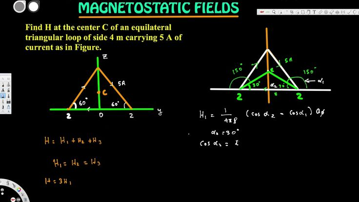 Find H at the center C of an equilateral triangular loop of side 4 m car...