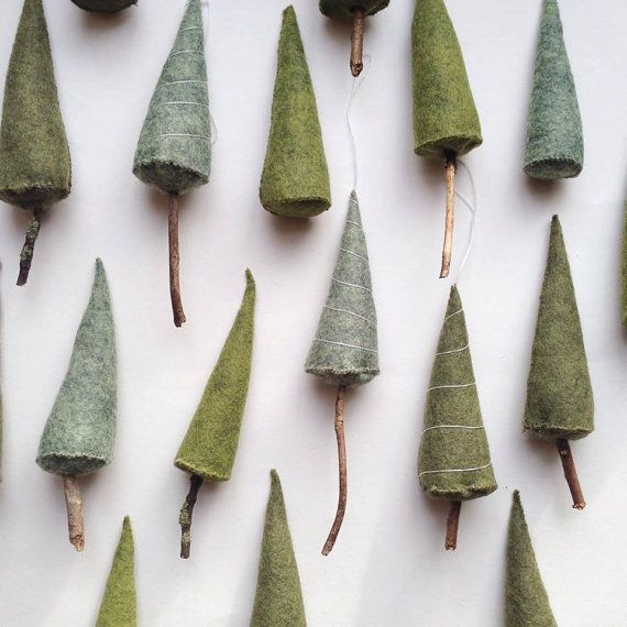Little hand stitched and decorated Christmas trees