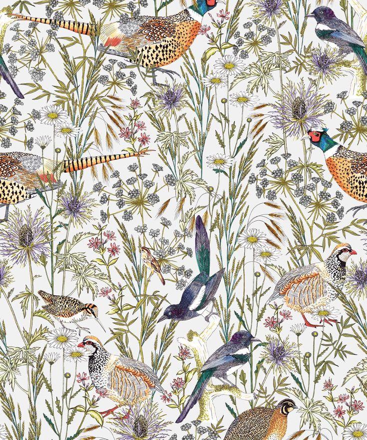 Woodland Birds • Lively Botanical Wallpaper • Milton