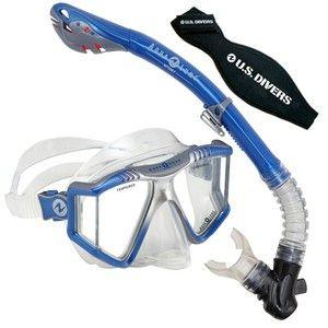 U.S. Divers Lux Purge Mask, Dry Snorkel, Strap Cover & Bag