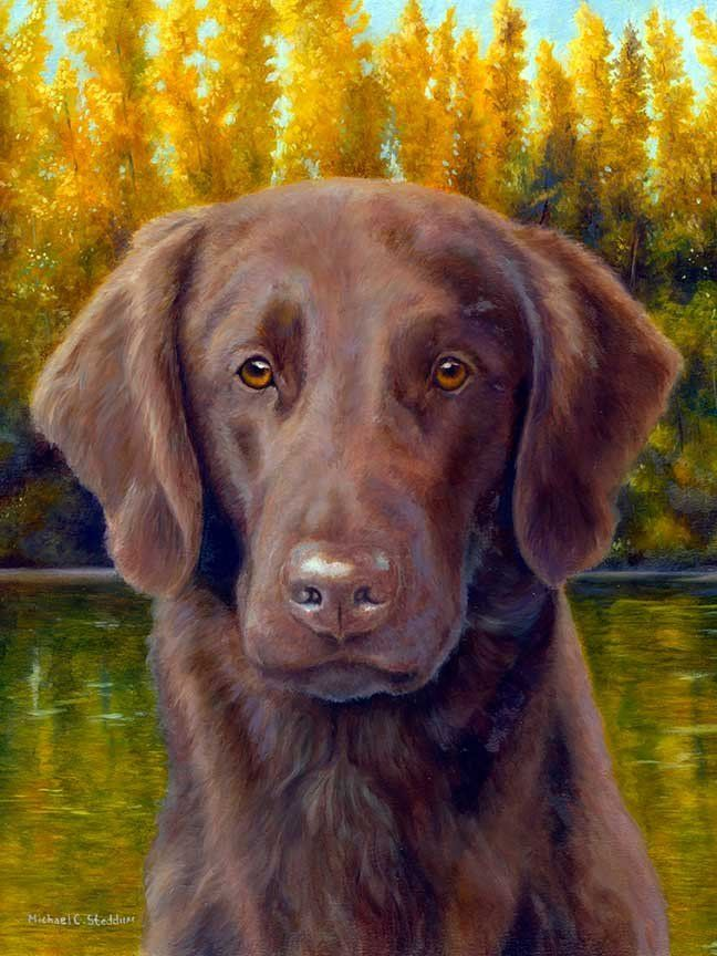 """Flat Coat Fall"" A Limited Edition Flat Coated Retriever Print"