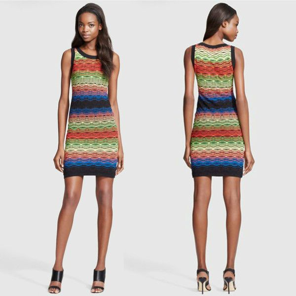 Missoni rainbow crochet knit tank DRESS bodycon S new IT40 UK10
