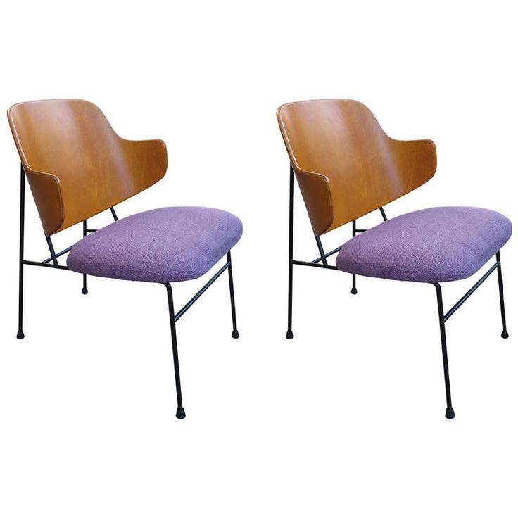 Colorful Pair Of 1950 Ib Kofod Larsen Chairs