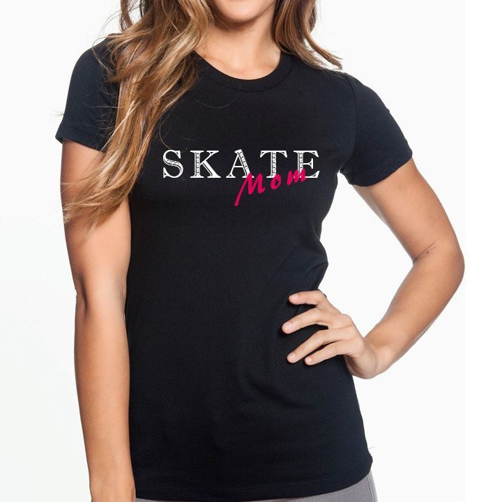 Skate Mom with Swarovski Crystals Figure Skating Ice Skating Shirt by StylishSilhouettes on Etsy