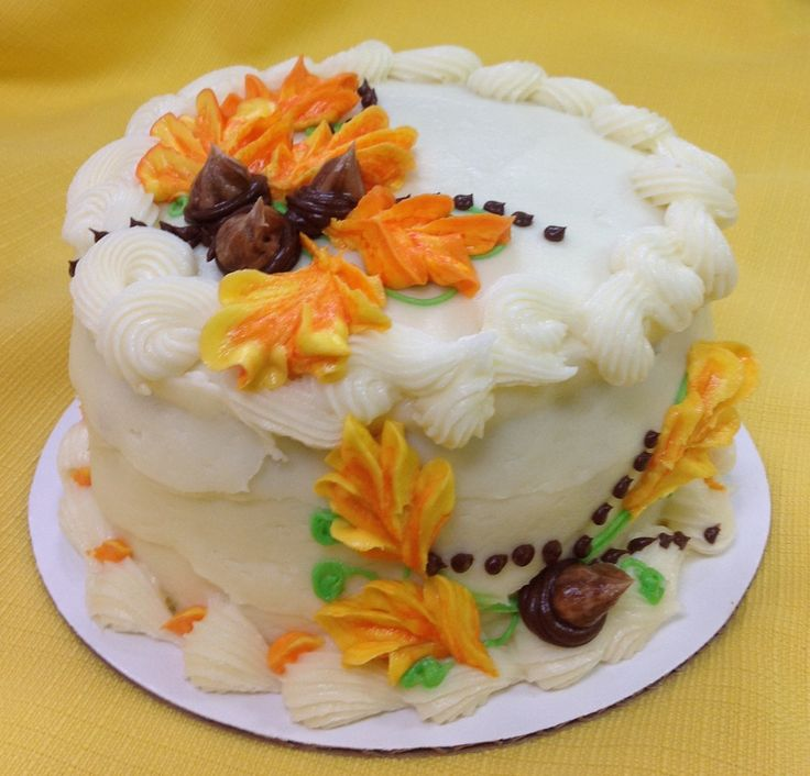 Fall spice cake with cream cheese frosting.