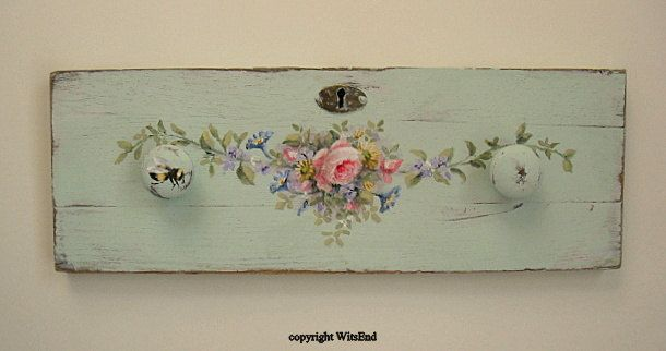 Rose swag and a Bee,  painting ooak original on antique mint green drawer front by 4WitsEnd. via Etsy. SOLD