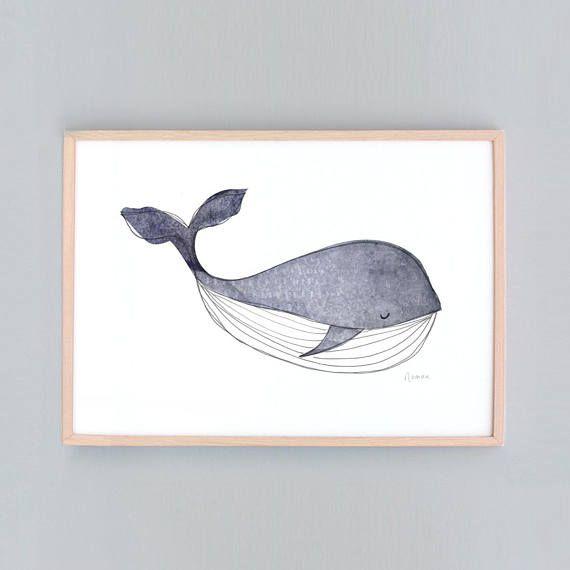 Small Whale Nursery, Baby Wall Art, Nursery Art, Whale Wall Prints, Nautical Decor, Whale Baby Whale Art Baby Shower