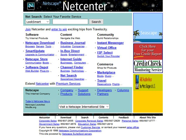 Netscape website in 1998