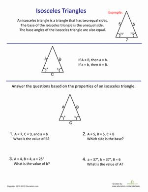 Does your child know the features of an isosceles triangle? Have him try out this worksheet that serves as a quick intro to middle school geometry.