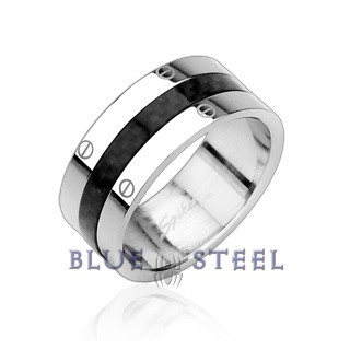 PIN IT TO WIN IT! Graphite: The Graphite ring offers a unique rich and solid style with a black carbon fiber strip at the center of shining stainless steel. The edge of this flat band styled ring a screw design embossed on it. With it's distinctive contemporary unique rich and solid style with Carbon Fiber center design the Graphite ring is the perfect thing to add a little modern style to your everyday look.  $29.99  www.buybluesteel.com