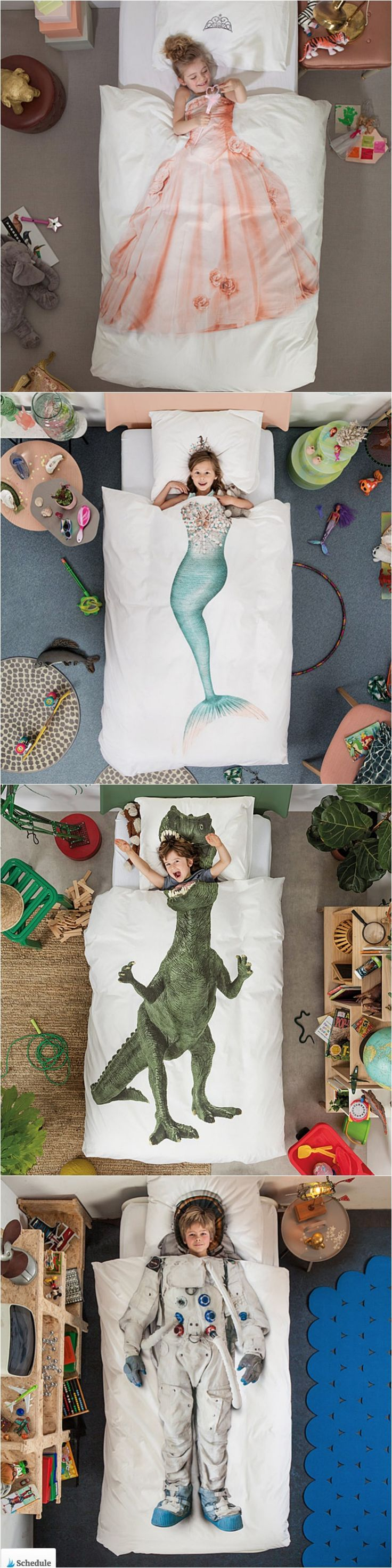 Princess, mermaid, dinosaur, astronaut kids bedding. Love these kids duvet and bedding options. Perfect for a kids room!