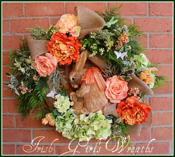 Large Coral Peach Mother & Baby Bunny Rabbit Wreath