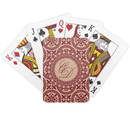 C and D cranberry and rose gold playing cards