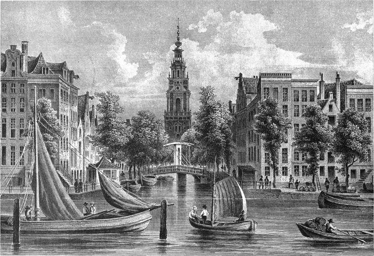 Amsterdam - Gezigt van den Amstel op de Zuiderkerk