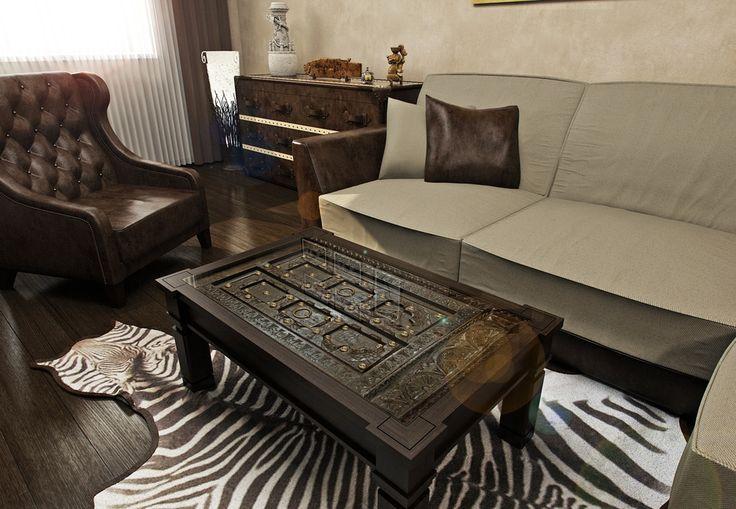 Мебель в африканском стиле — это массивная мебель простой формы из темного дерева, часто украшенная орнаментами.