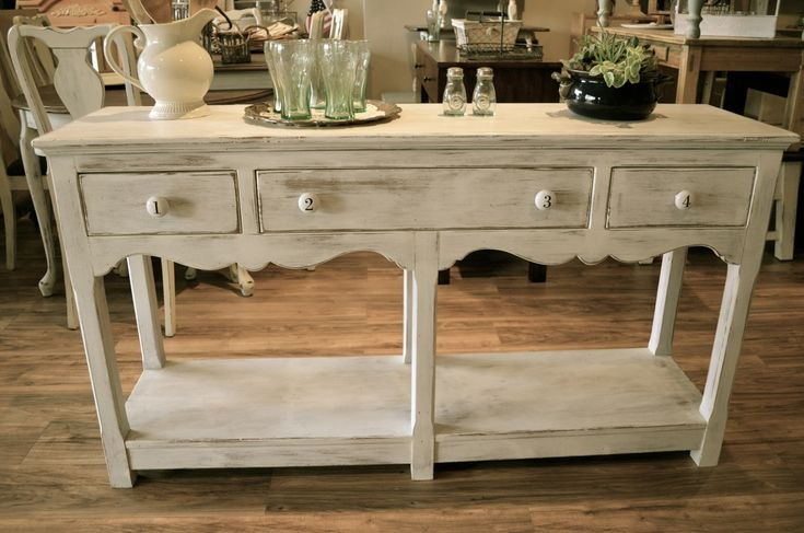 Distressed White Entry Table/Buffet