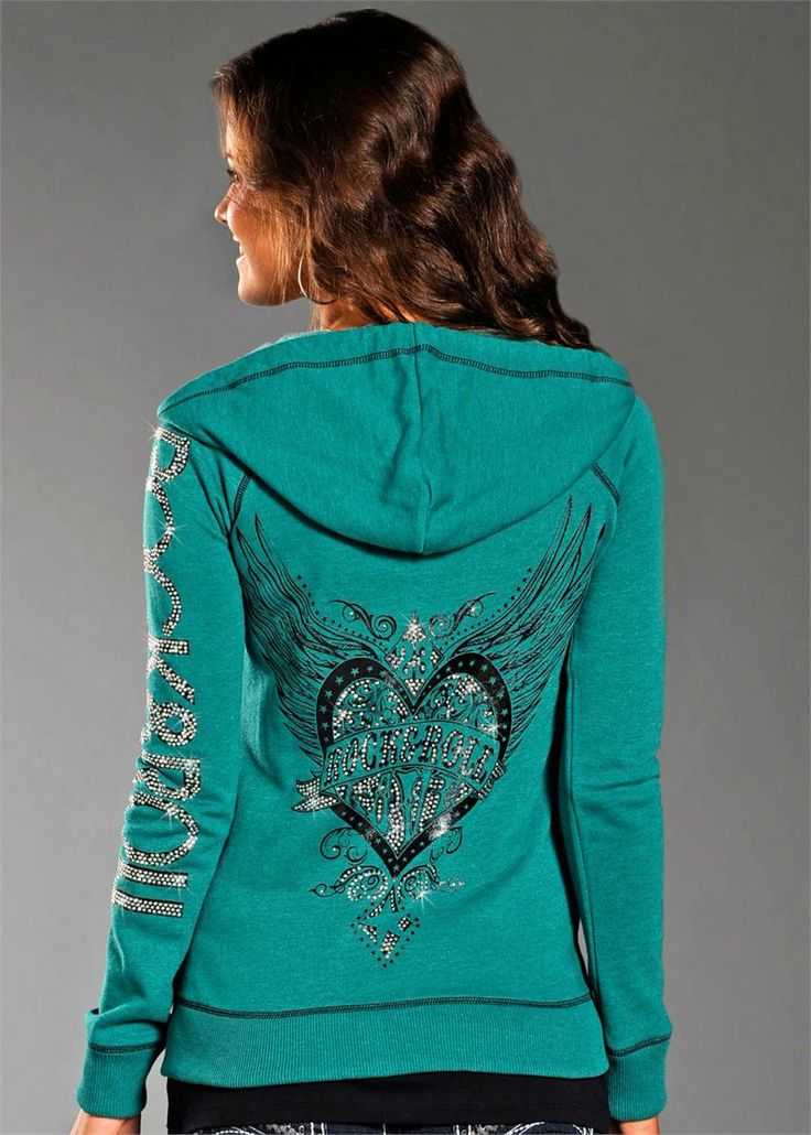 Rock and Roll Cowgirl Women's Green Hoodie  - CLEARANCE, extra 15% off!