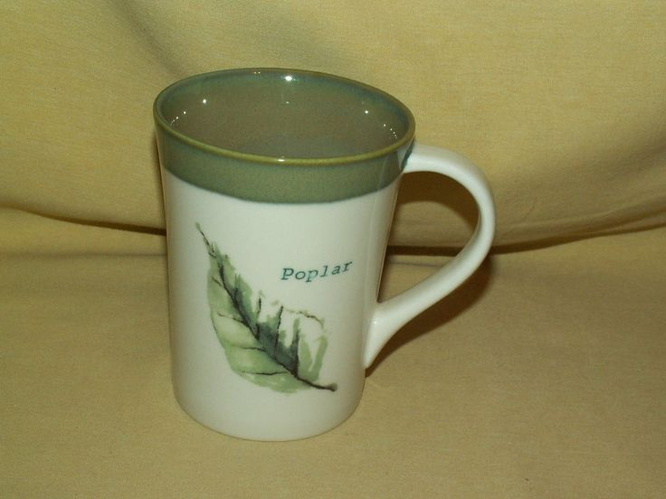 STARBUCKS MUG POPLAR LEAF 2007 COFFEE TEA CUP WHITE GREEN ...