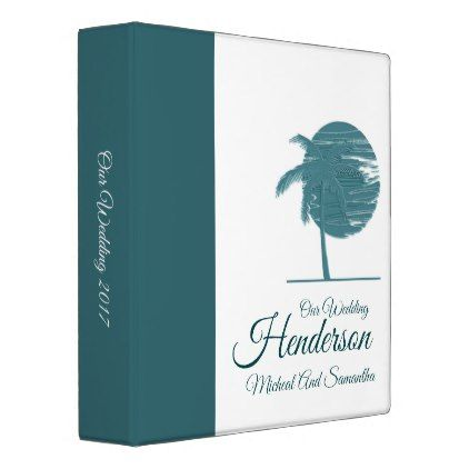 Hawaiian Beach Palm Tree Wedding Photo Album Binder - tree wedding gifts marriage unique special customize