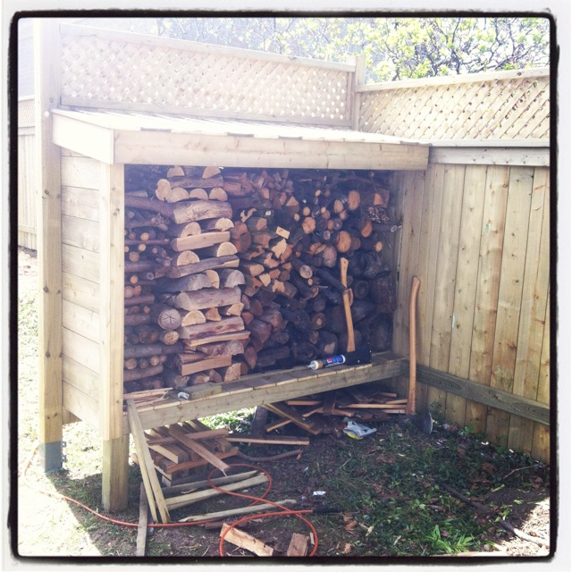 Little wood shed for our fire pit. All materials are PT, leftover from the fence build.