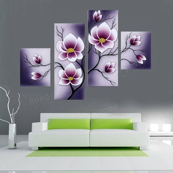 4Pcs Purple Flower Combination Painting Printed On Canvas Frameless Drawing Home Cafe Wall Decor