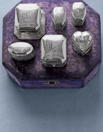 Antique Monogrammed Sterling Silver Ring Box Collection (part of a much larger Silver Ring Box Collection owned by Elda Woolliams, a Vancouver collector) (Photo by Wendell T. Webber)