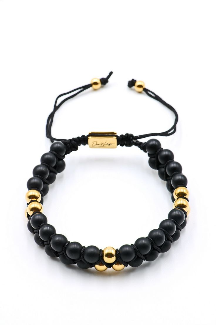 Black Matte Onyx Double Beaded Bracelet 6mm