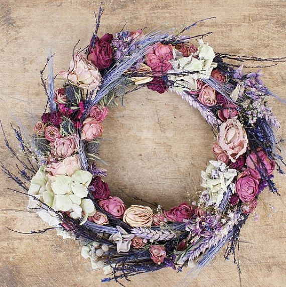 Dried roses decoration, pink Roses wreath, Romantic decor, Vintage wreath, shabby chic wreath, Dry roses, Home decorations, door hanger