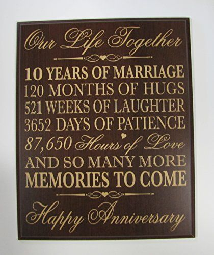 10th Wedding Anniversary Wall Plaque Gifts for Couple 10th Anniversary Gifts for…
