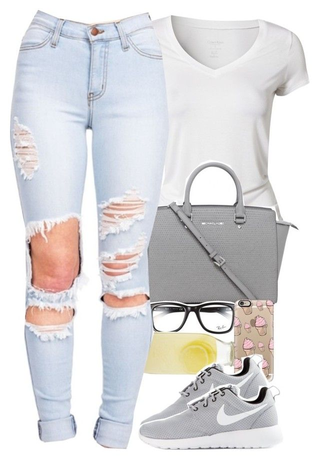 """my sets are sh!t, but ootd"" by daisym0nste ❤ liked on Polyvore featuring Calvin Klein, Michael Kors, Ray-Ban, Bormioli Rocco, Casetify and NIKE"