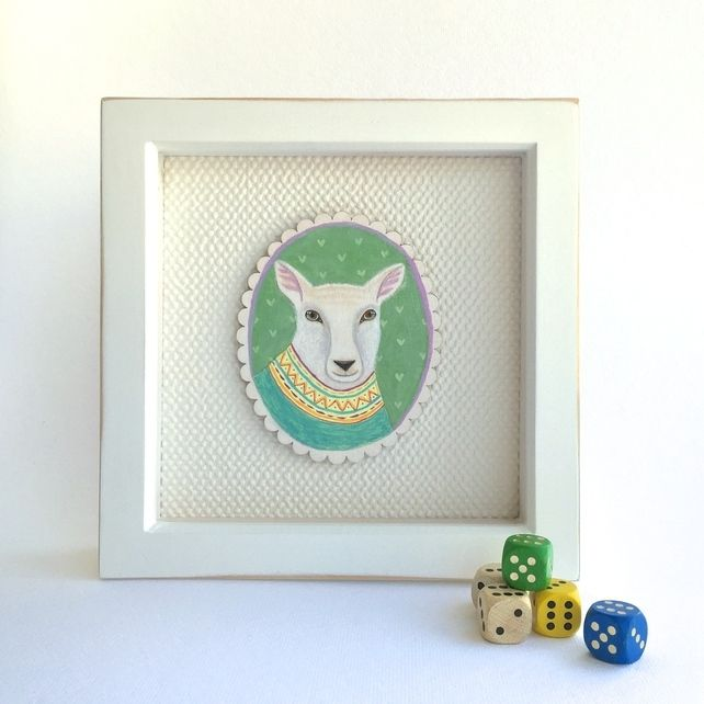 Isaac the sheep in his knitted jumper, framed original animal painting  £40.00 #folksyfriday