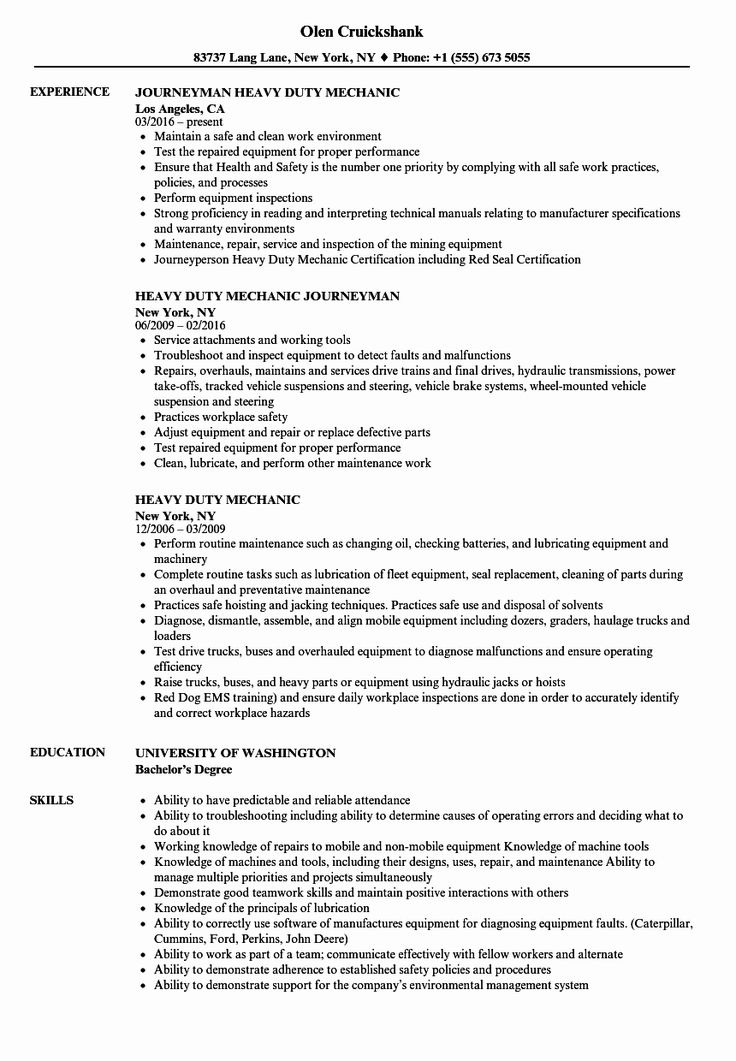 Mechanic Job Description Resume Inspirational Heavy Duty