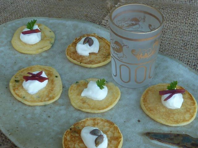 Make it for Christmas: Little Potato Pancakes or Blinis - no mess, no fuss, no yeast required! * Get the recipe at TIFFIN - bite sized food adventures