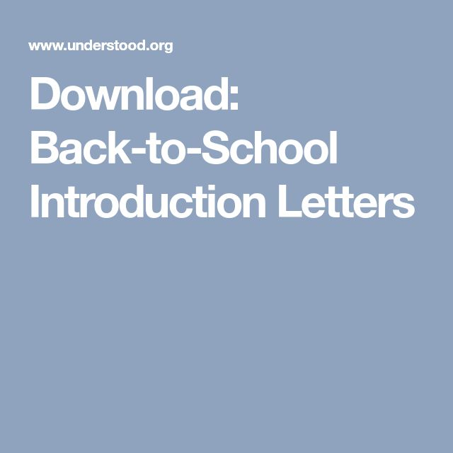 Download: Back-to-School Introduction Letters