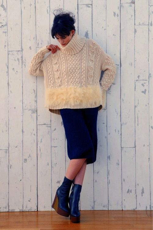 Oversized sweater, fitted pencil skirt, quirky chunky heels, love