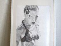 """Bleistiftzeichnung """"Frau im Bikini"""""""