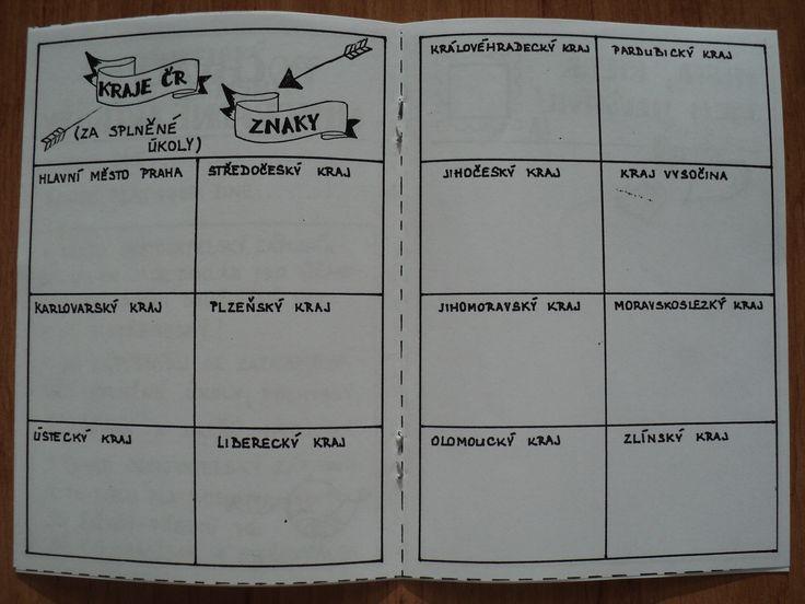 """Cestovatelský zápisník - ukázka dvoustrany - děti získají za splněné úkoly znak daného kraje, který se vlepí do správného """"okénka"""""""