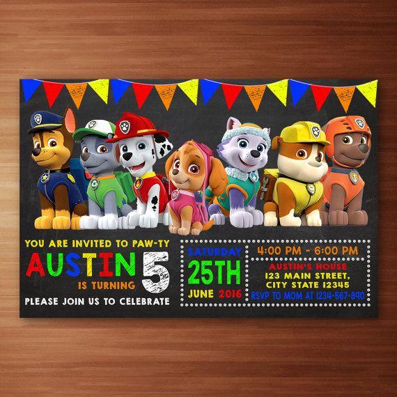 Pata de patrulla invitación cumpleaños de la por CJDWinvitation