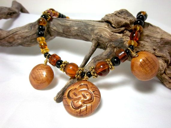 Necklace, Tribal Look, Autumn, Amber and Gold, Three Polymer Clay Focals, Unique Look