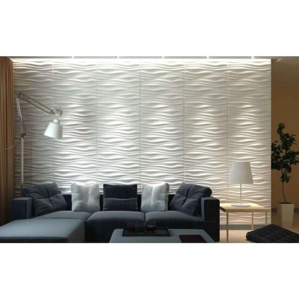 Art3d 19 7 In X 19 7 In Decorative Pvc 3d Wall Panels Wavy Wall Design 12 Pack A10037 The Home Depot 3d Wall Panels Ceiling Design Living Room Wall Design